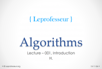 Algorithms } 001 } Introduction }