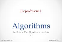 Algorithms } 004 } Analysis of algorithms }