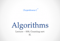 Algorithms } 009 } Counting Sort }