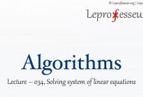 Algorithms } 034 } Solving Linear Equations }